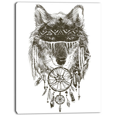 Designart Funny Indian Wolf Warrior Watercolor Contemporary Animal Art Canvas