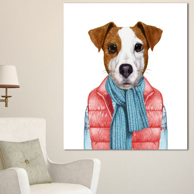 Designart Funny Jack Russell In Formal Suit AnimalCanvas Art Print - 3 Panels