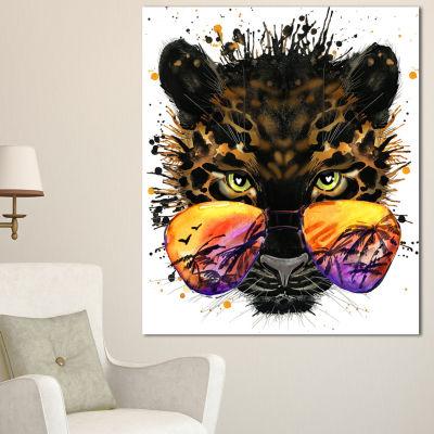 Designart Funny Jaguar With Sunglasses Contemporary Animal Art Canvas