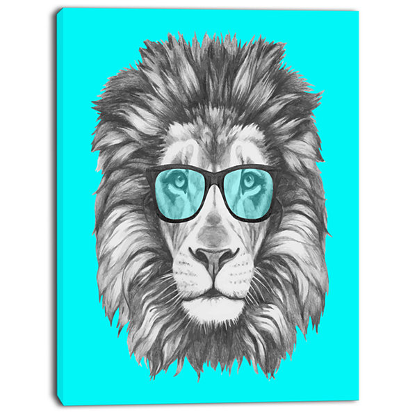 Designart Funny Lion With Blue Glasses Animal Canvas Art Print