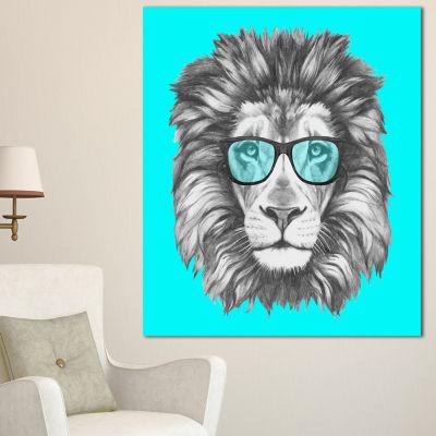 Designart Funny Lion With Blue Glasses Animal Canvas Art Print - 3 Panels