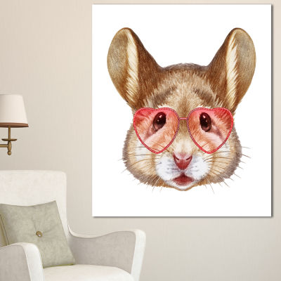 Designart Funny Mouse With Heart Glasses Animal Canvas Art Print