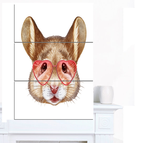 Design Art Funny Mouse With Heart Glasses Animal Canvas Art Print - 3 Panels