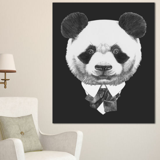 Designart Funny Panda In Suit And Tie Animal Canvas Art Print