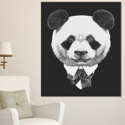 Designart Funny Panda In Suit And Tie Animal Canvas Art Print - 3 Panels