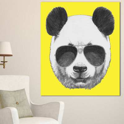 Designart Funny Panda With Sunglasses Animal Canvas Art Print - 3 Panels