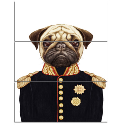 Designart Funny Pug Dog In Military Uniform AnimalCanvas Art Print - 3 Panels