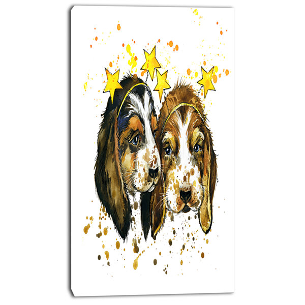 Designart Funny Puppy Dogs Watercolor ContemporaryAnimal Art Canvas