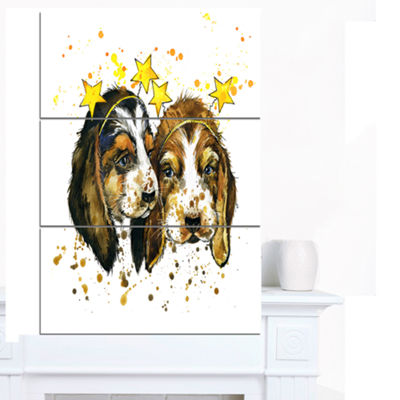 Designart Funny Puppy Dogs Watercolor ContemporaryAnimal Art Canvas - 3 Panels