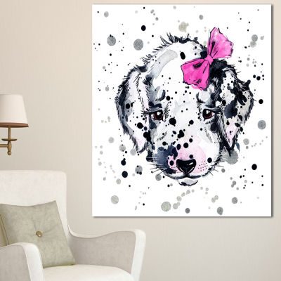 Design Art Funny Puppy With Pink Hair Band Contemporary Animal Art Canvas