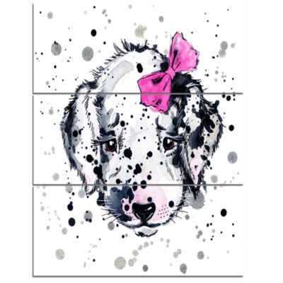 Designart Funny Puppy With Pink Hair Band Contemporary Animal Art Canvas - 3 Panels
