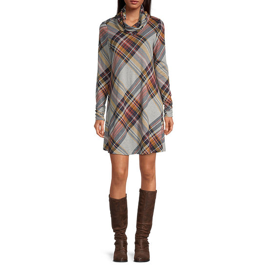 R & K Originals Long Sleeve Plaid Shift Dress With Removable Infinity Scarf