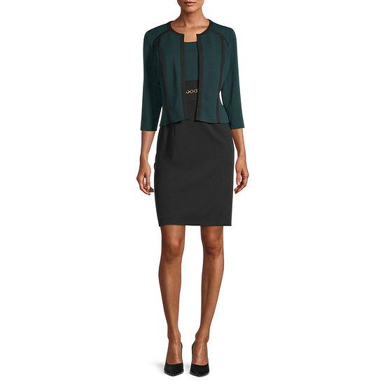 Studio 1 3/4 Sleeve Contrast Piping Jacket Dress