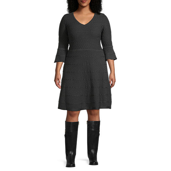 Danny & Nicole-Plus 3/4 Sleeve Fit & Flare Dress