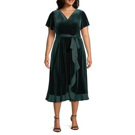 1940s Dresses | 40s Dress, Swing Dress, Tea Dresses Danny  Nicole-Plus Short Sleeve Velvet Midi Wrap Dress 2x  Green $41.24 AT vintagedancer.com