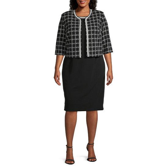 Maya Brooke-Plus 3/4 Sleeve Beaded Neckline Jacket Dress