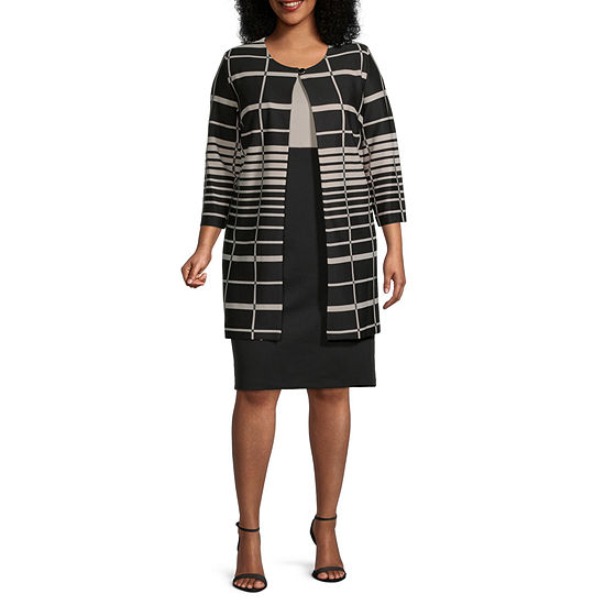 Danny & Nicole-Plus 3/4 Sleeve Striped Jacket Dress