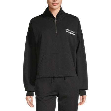 Flirtitude Juniors Womens Long Sleeve Sweatshirt, X-small , Black
