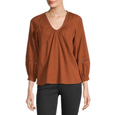 a.n.a Womens V Neck 3/4 Sleeve Blouse, Medium , Orange