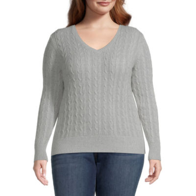 St. John's Bay-Plus Cable Womens V Neck Long Sleeve Pullover Sweater