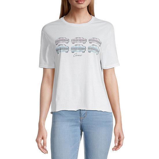 Juniors Camero Womens Round Neck Short Sleeve Graphic T-Shirt