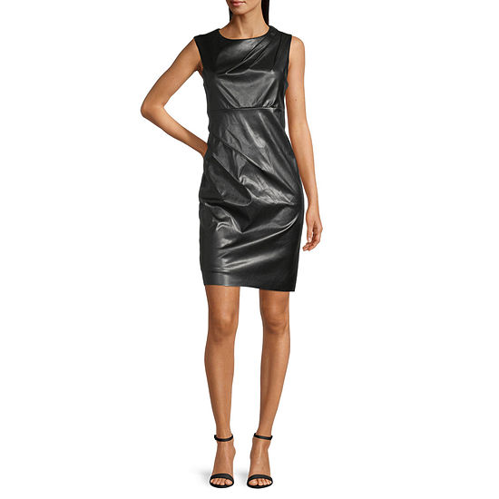 Ronni Nicole Sleeveless Faux Leather Sheath Dress
