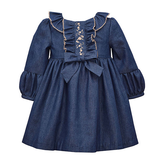 Bonnie Jean Baby Girls Long Sleeve A-Line Dress