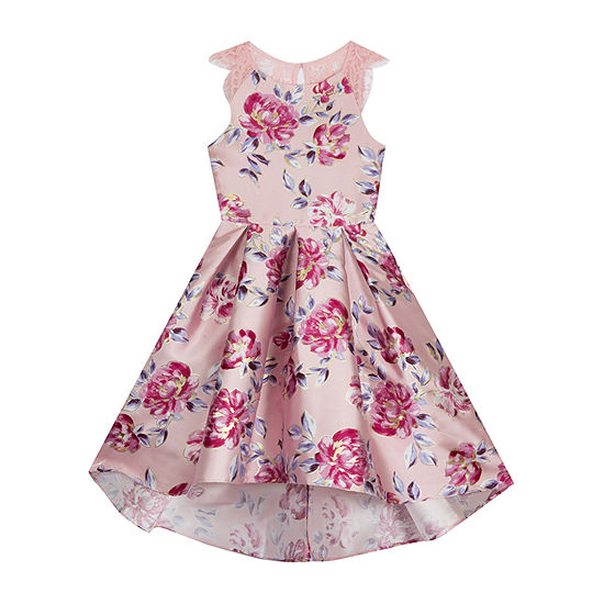 Rare Editions Big Girls Sleeveless Lace Shoulder Sleeve High-Low Party Dress