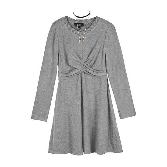 by&by Big Girls Long Sleeve Sweater Dress