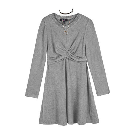by&by Big Girls Long Sleeve Sweater Dress, Medium (10-12) , Gray