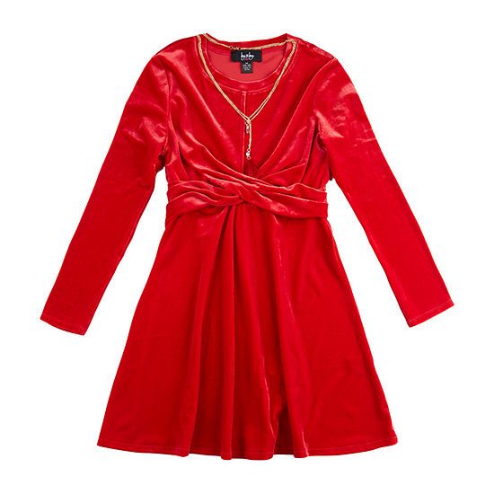 by&by Big Girls Long Sleeve Fitted Sleeve A-Line Dress