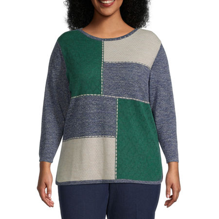 Alfred Dunner-Plus Hunter Mountain Womens Round Neck Long Sleeve Pullover Sweater, 1x , Blue