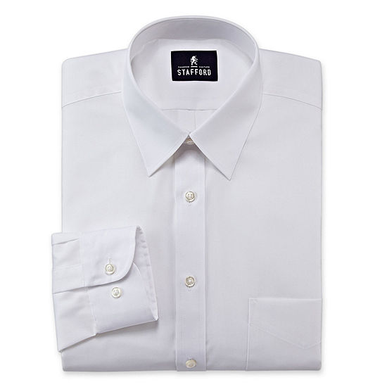 Stafford Travel Performance Super Shirt Mens Point Collar Long Sleeve Wrinkle Free Stain Resistant Dress Shirt