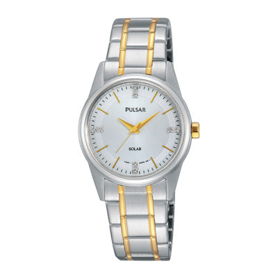 Pulsar® Night Out Womens Crystal-Accent Solar Expansion Bracelet Watch PY5003