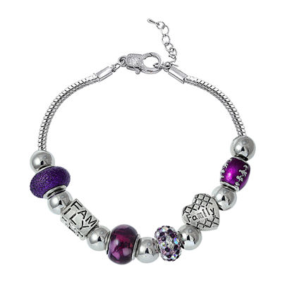 Dazzling Designs™ Silver-Plated Purple Artisan Glass Bead Family Bracelet