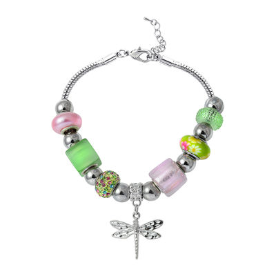 Dazzling Designs™ Silver-Plated Artisan Glass Bead Dragonfly Bracelet