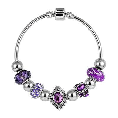 Dazzling Designs™ Silver-Plated Artisan Purple Glass Bead Vintage Bracelet