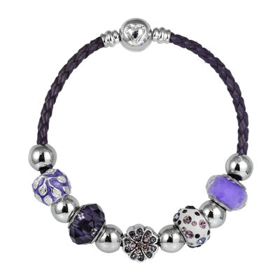 Dazzling Designs™ Silver-Plated Artisan Glass Bead and Purple Leather Bracelet
