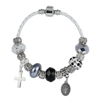 Dazzling Designs™ Silver-Plated Artisan Glass Bead and White Leather Bracelet