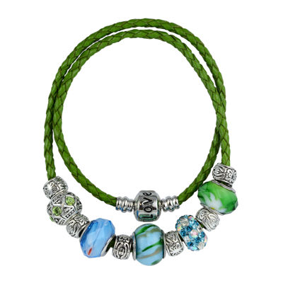 Dazzling Designs™ Silver-Plated Artisan Glass Bead and Green Leather Multi-Wrap Bracelet