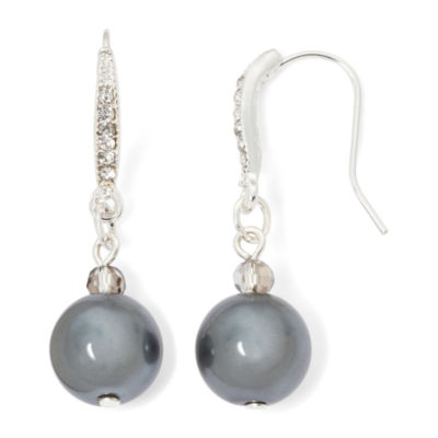 Vieste® Gray Simulated Pearl Silver-Tone Drop Earrings