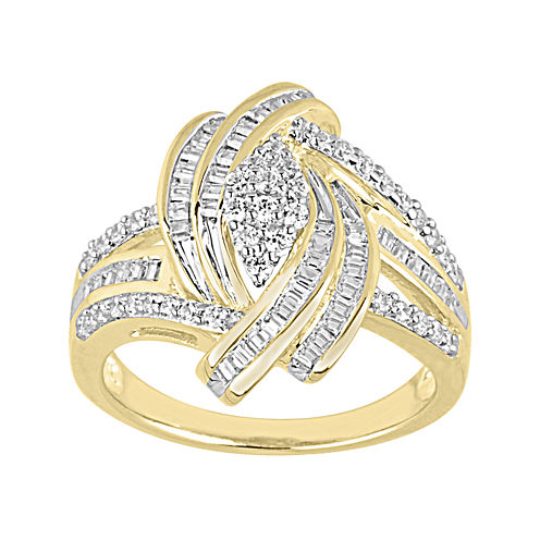LIMITED QUANTITIES 3/4 CT. T.W. Diamond Yellow Gold Cluster Ring