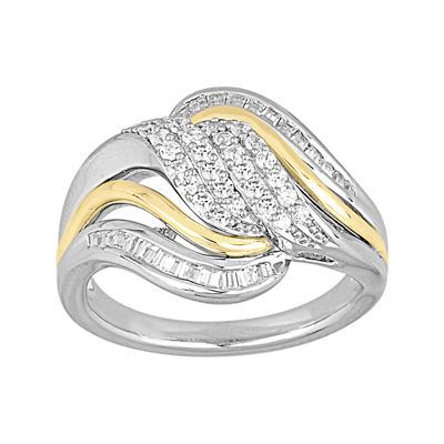 LIMITED QUANTITIES 1/2 CT. T.W. Diamond Two-Tone Gold Cluster Ring