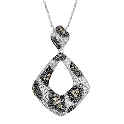 LIMITED QUANTITIES 1? CT. T.W. White, Champagne and Color-Enhanced Diamond Pendant Necklace