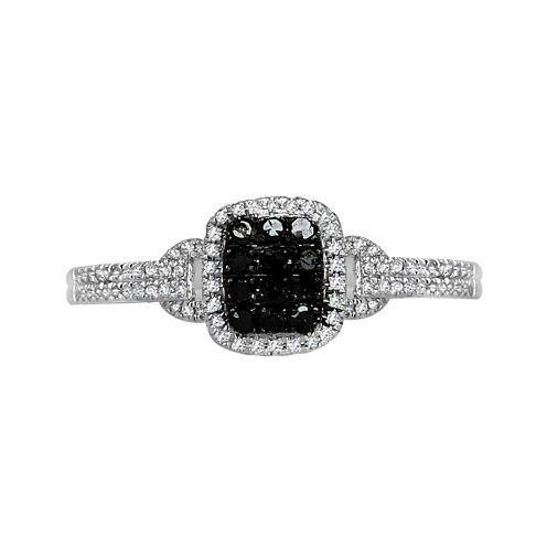 LIMITED QUANTITIES 1/4 CT. T.W. White and Color-Enhanced Black Diamond Square Ring