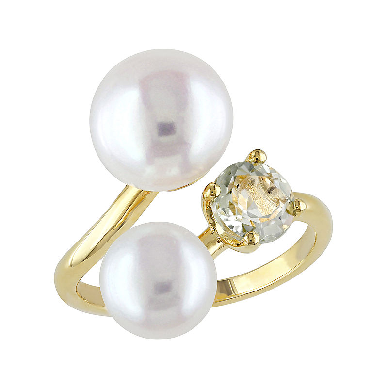 Cultured Freshwater Pearl and Green Quartz Ring