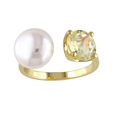 Cultured Freshwater Pearl and Yellow Quartz Ring