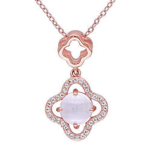 Genuine Pink Quartz and White Topaz Necklace