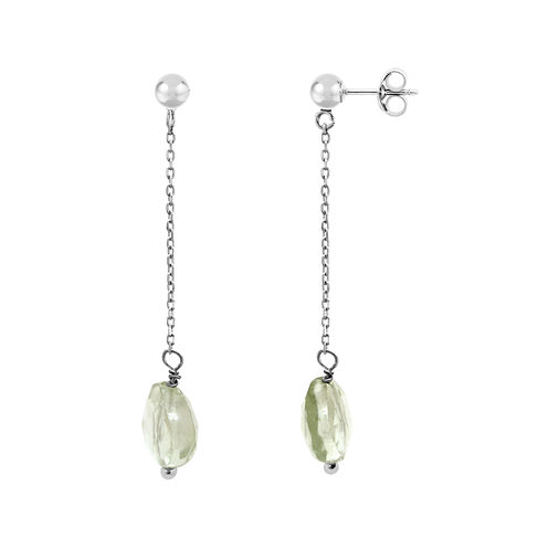 Genuine Green Quartz Linear Drop Earrings