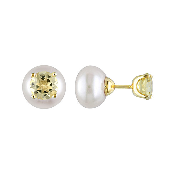 Genuine Yellow Quartz And Cultured Freshwater Pearl Earrings